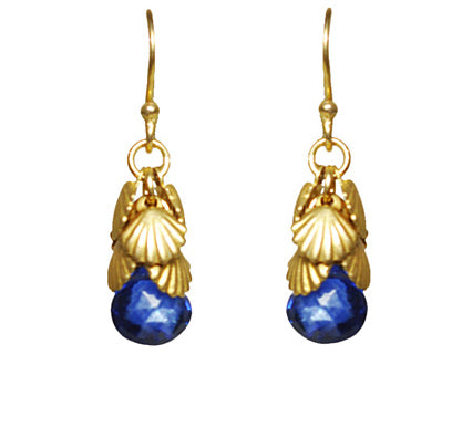 Shell Cluster Blue Sapphire Earrings