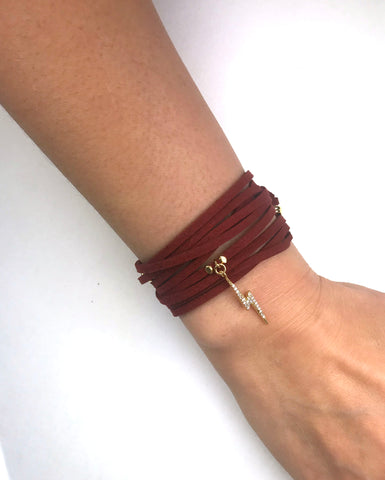 Image of Lightning Bolt Burgundy Suede Wrap Bracelet