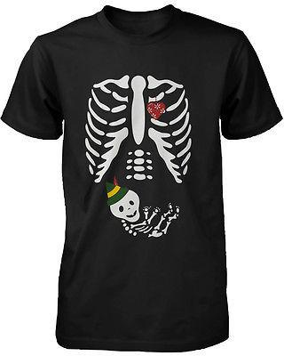 Image of Cute Christmas Maternity Wear Cotton T-shirt - Elf Baby X-ray Graphic Tee
