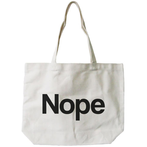 Image of Nope Typography Canvas Bag Natural 100% Canvas Cute Tote For Girls