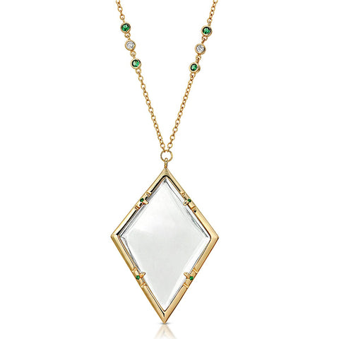 Emmeline Gold Emerald - Magnifier Pendant Necklace