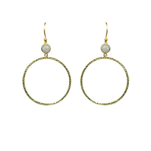 Rainbow Moonstone Bezel Circle Earrings