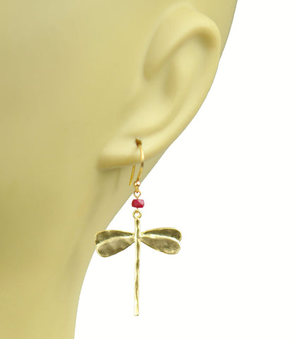 Dragonfly Ruby Earrings