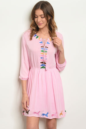 Womens Pink Embroidery Dress