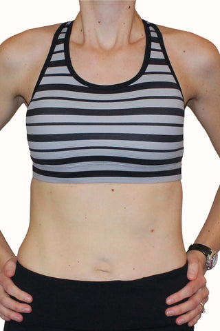 Image of Adjustable Sports Bra - Gray and Black Stripe