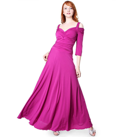 Image of Evanese Women's Elegant Slip On Long Formal Evening Dress with 3/4 Sleeves