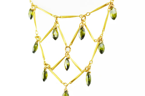 Green Tourmaline Bib Necklace
