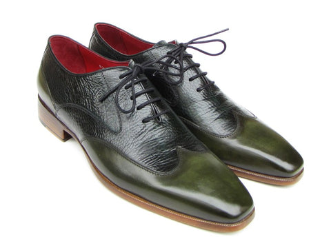 Image of Paul Parkman Men's Wingtip Oxford Floater Leather Green (ID#023-GREEN)