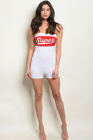 Image of Womens White Red Romper