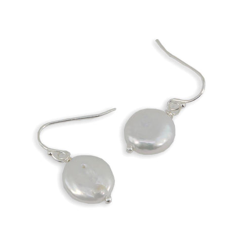 Freshwater Coin Pearl Sterling Silver Earrings