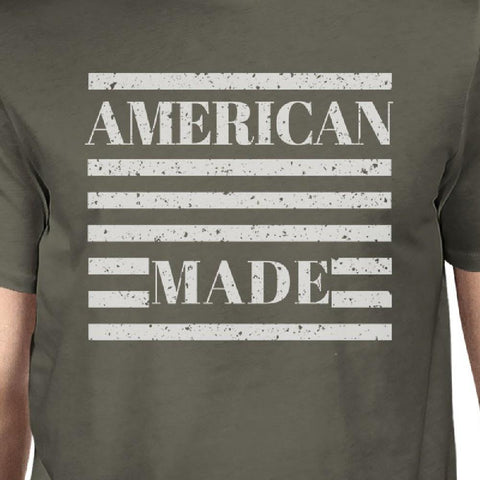 American Made Mens Dark Grey T Shirt Vintage Printing Graphic Shirt