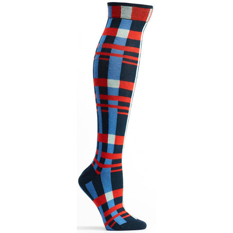 Image of Constructive Plaid Knee High Sock