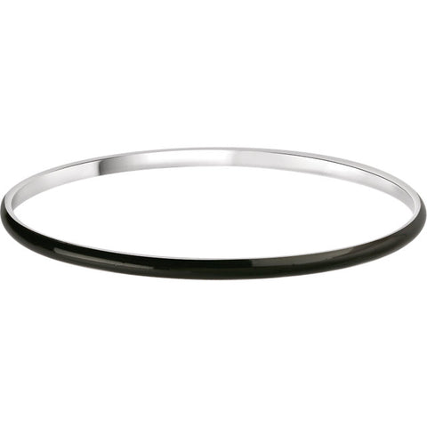 Black Enamel Bangle Bracelet