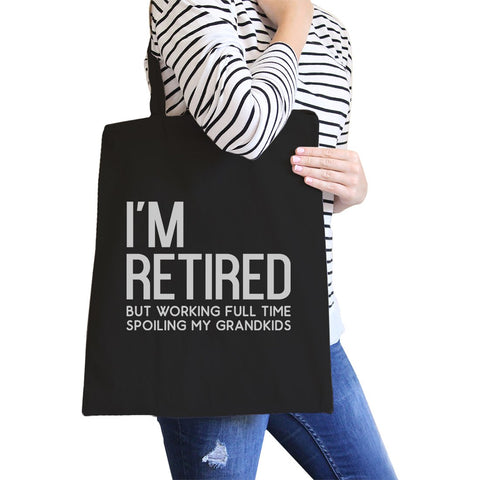 Image of Retired Grandkids Heavy Cotton Canvas Bag Tote Shoulder Hand Bags