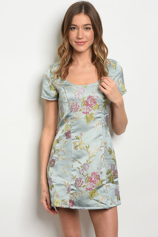 Image of Womens Sage Floral Dress