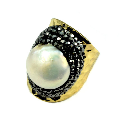 Pearl Ring Surrounded by Pave Crystals
