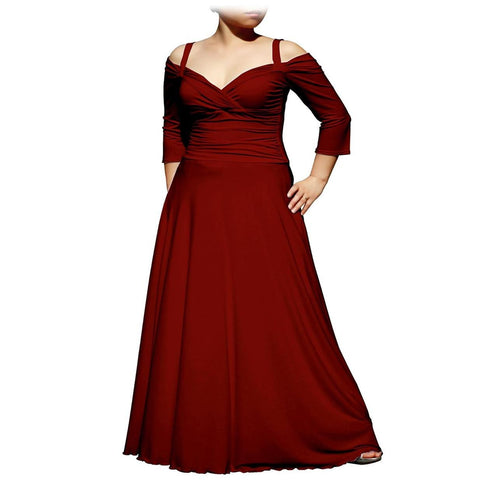 Evanese Women's Plus Size Elegant Long Formal Evening Dress with 3/4 Sleeves