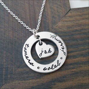 Personalized Necklace with Kids Names and Parents Initials