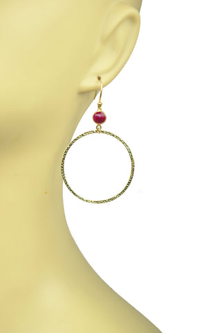 Ruby Bezel Circle Earrings