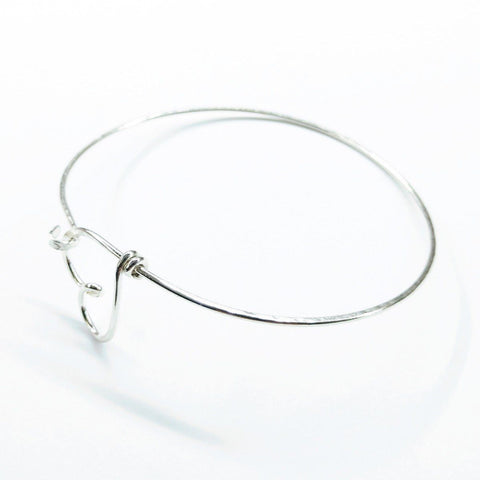 Image of Wire Wrapped Heart Bangle in Sterling Silver