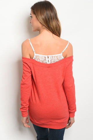 Womens Red White Top