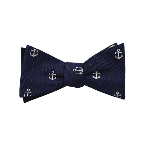 Anchor Bow Tie - Navy, Woven Silk