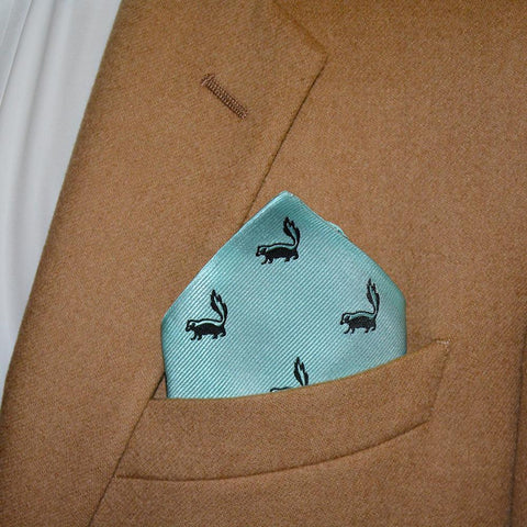 Skunk Pocket Square - Sea Green, Woven Silk