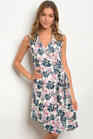 Image of Womens Cream Floral Dress
