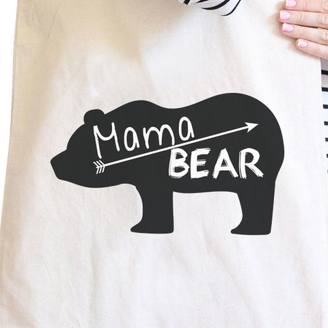 Image of Mama Bear Natural Canvas Shoulder Bag Trendy Graphic Gift For Her