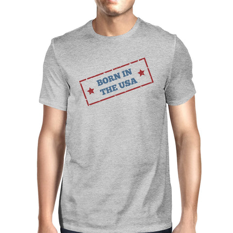 Image of Born In The USA American Flag Shirt Mens Grey Graphic Tee Shirt