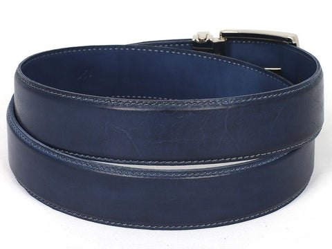 Image of PAUL PARKMAN Men's Leather Belt Hand-Painted Navy (ID#B01-NVY)