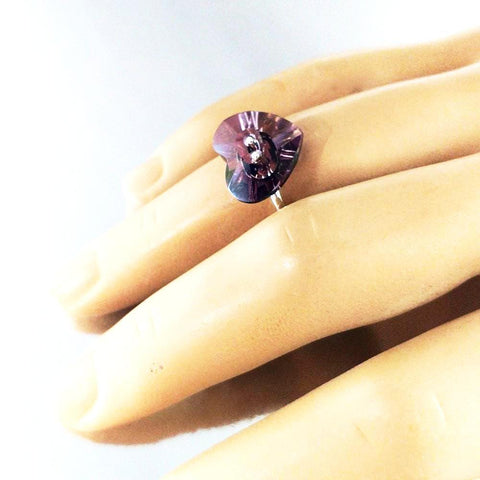 Lilac Heart Swarovski Crystal Shank Button Bling Ring