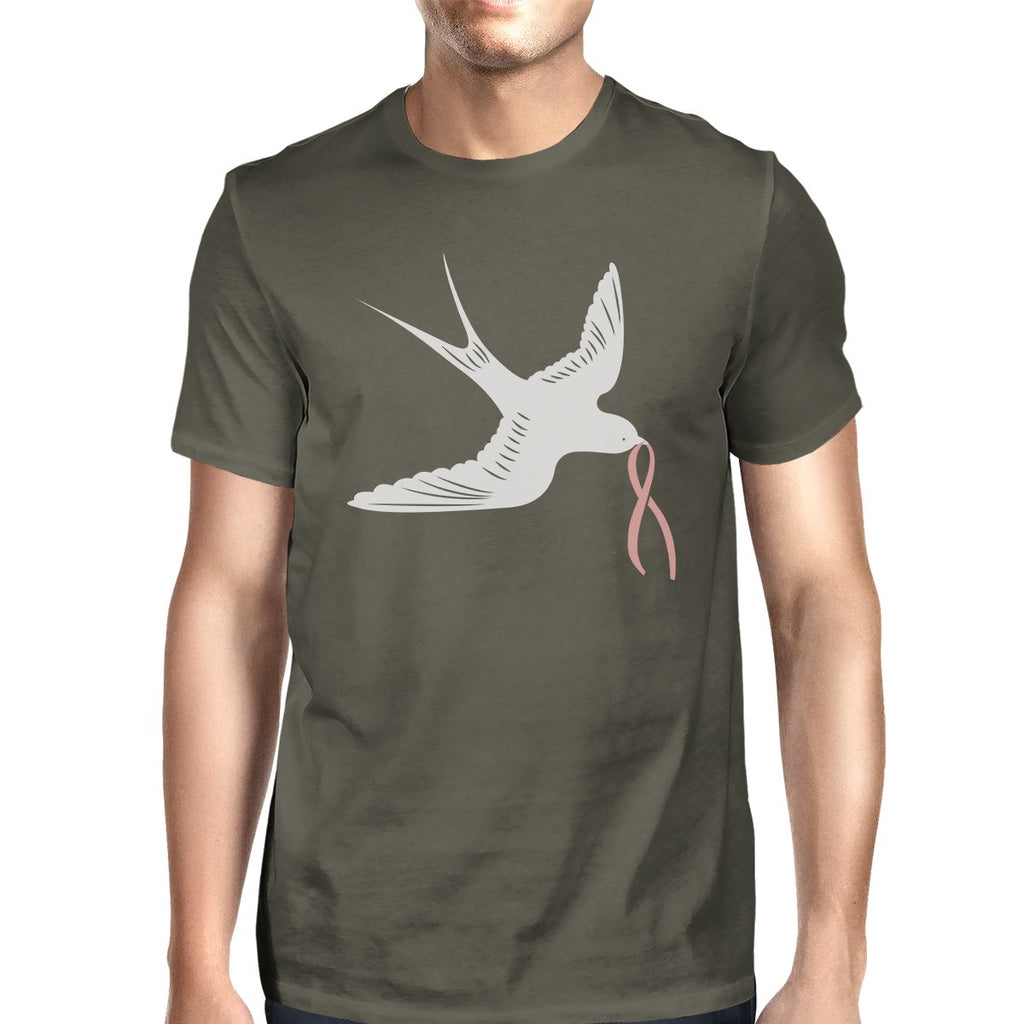 Pink Ribbon And Swallows Birds Mens Shirt