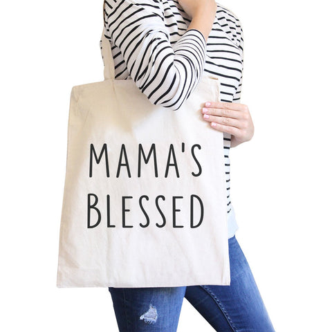 Mama's Blessed Natural Canvas Tote Bag Simple Design Funny Graphic