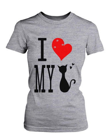 Funny Graphic Statement Womens Gray T-shirt - I Love My Cat