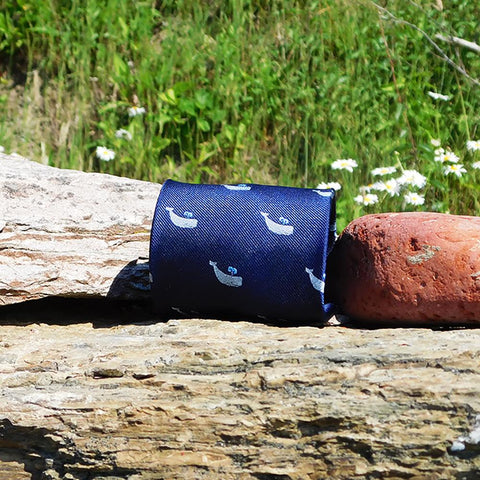 Sperm Whale Necktie - Grey on Navy, Woven Silk