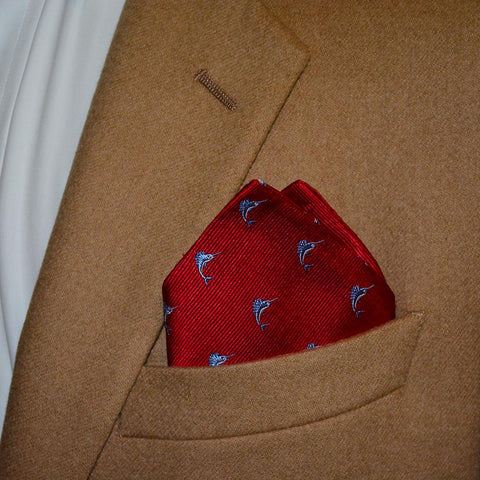 Image of Marlin Pocket Square - Red, Woven Silk