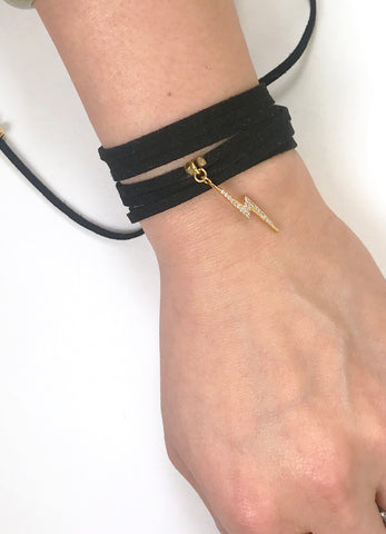 Lightning Bolt Black Suede Wrap Bracelet