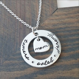 Personalized Necklace for Mom Cutout Disc with Heart Charm
