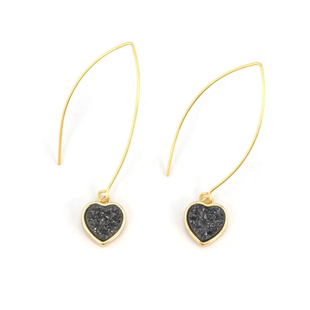 Gold Heart Druzy Earrings