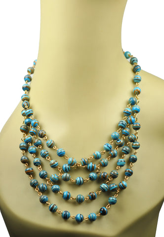 Image of Stripe Turquoise Statement Necklace