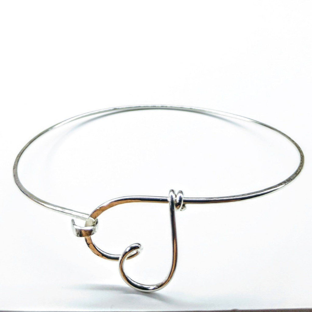 Wire Wrapped Heart Bangle in Sterling Silver