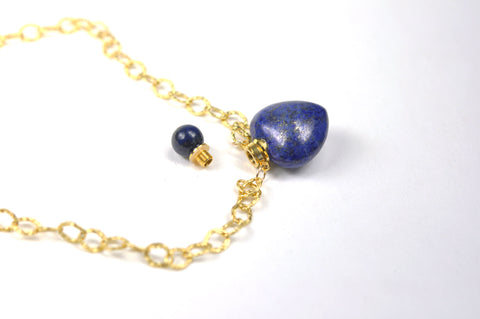 Image of Lapis Lazuli Heart Chain Necklace