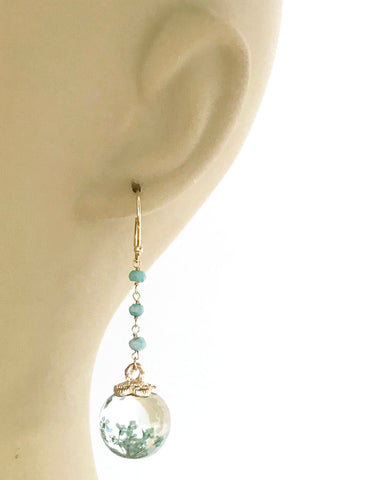 Image of Petrified Flower Keepsake Amazonite Earrings
