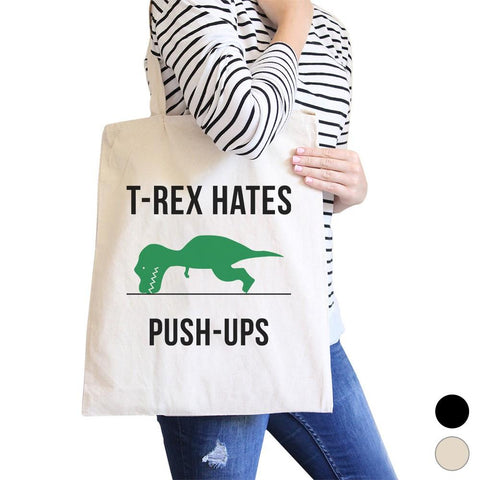 Image of T-Rex Push Ups Canvas Shoulder Bag Cute Gym Tote Funny Workout Gift