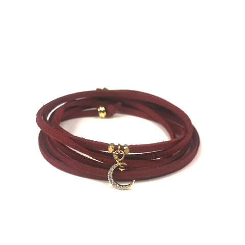 Image of Starry Moon Burgundy Suede Wrap Bracelet