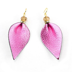 Alice Leather drop Earrings in Sterling Silver -Hot Pink
