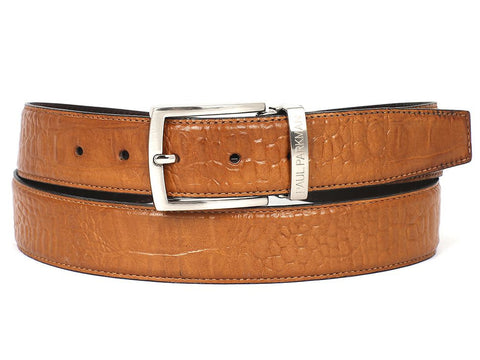 PAUL PARKMAN Men's Croc Embossed Calfskin Belt Camel (ID#B02-CML)