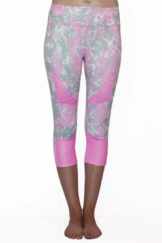 Image of Pink and Gray Marble Moto - Pocket Capri