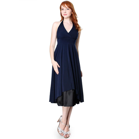 Image of Evanese Women's Polyester Sexy Deep V Halter Neck A Line Cocktail Dress